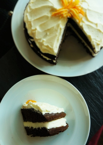 alpha bakes chocolate cake with orange buttercream