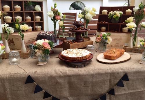 Rustic-themed dessert table